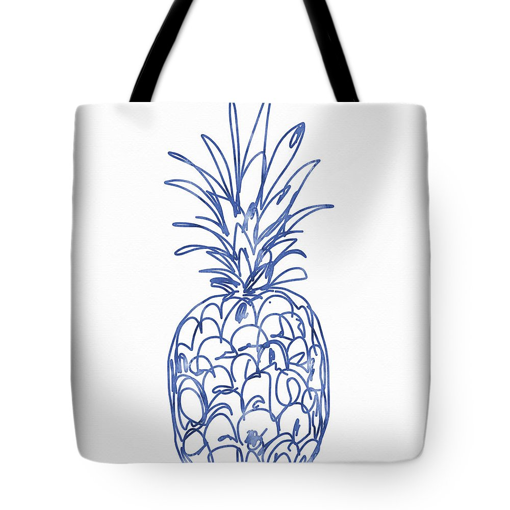 Pineapple Tote Bag featuring the painting Blue Pineapple- Art By Linda Woods by Linda Woods