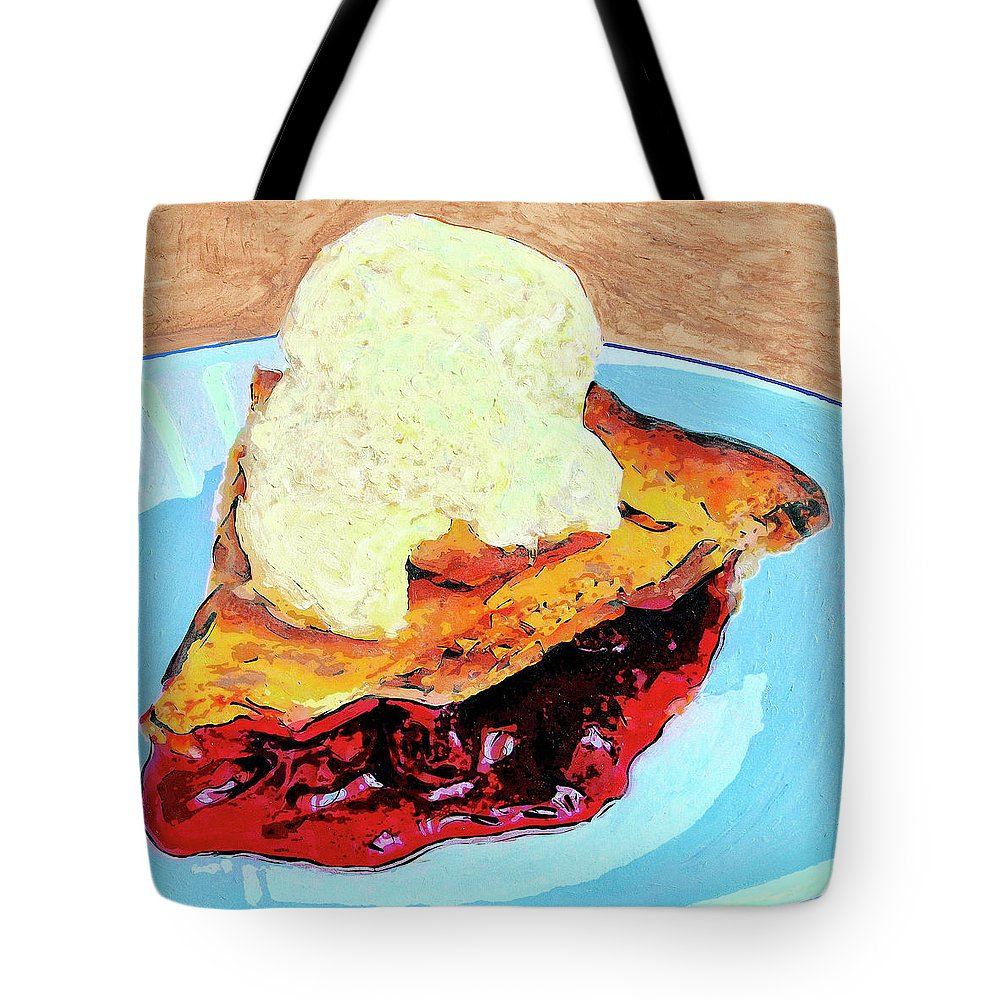 Cherry Pie Tote Bag featuring the painting Blue Plate Special by Dominic Piperata