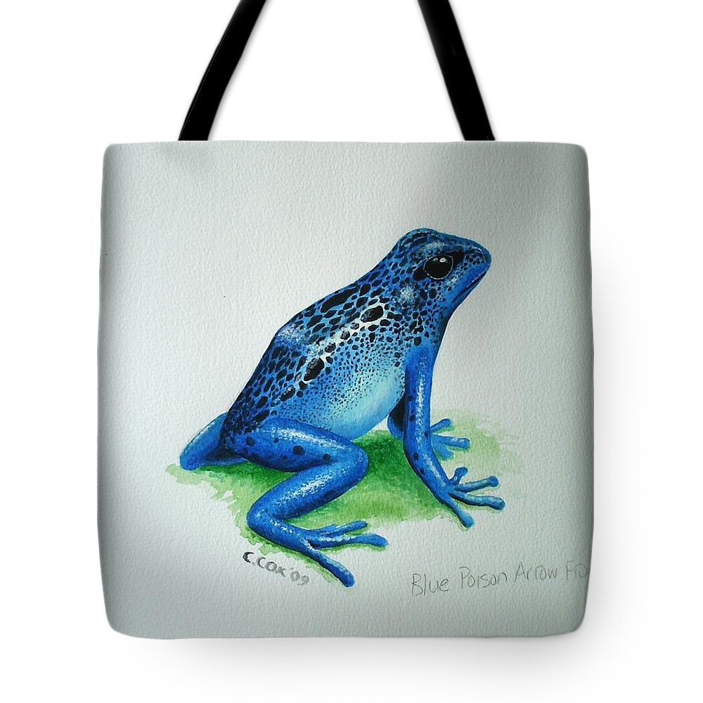 Poison Arrow Frog Tote Bag featuring the painting Blue Poison Arrow Frog by Christopher Cox