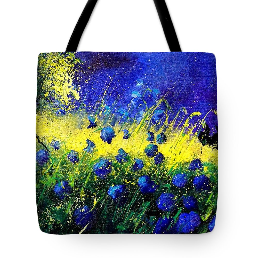 Flowers Tote Bag featuring the painting Blue Poppies by Pol Ledent