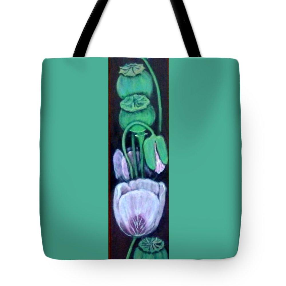 Poppy Tote Bag featuring the painting Blue Poppy by Anna Folkartanna Maciejewska-Dyba