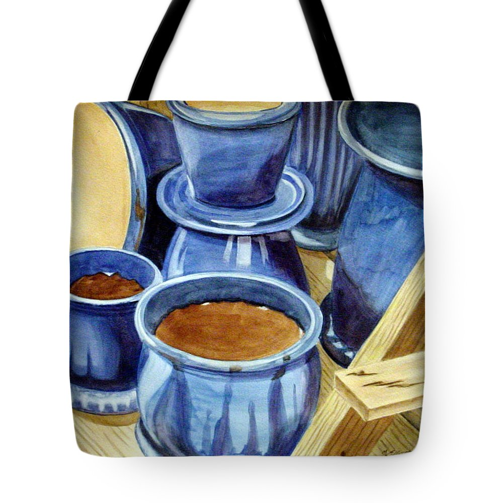 Pots Tote Bag featuring the painting Blue Pots by Marsha Elliott
