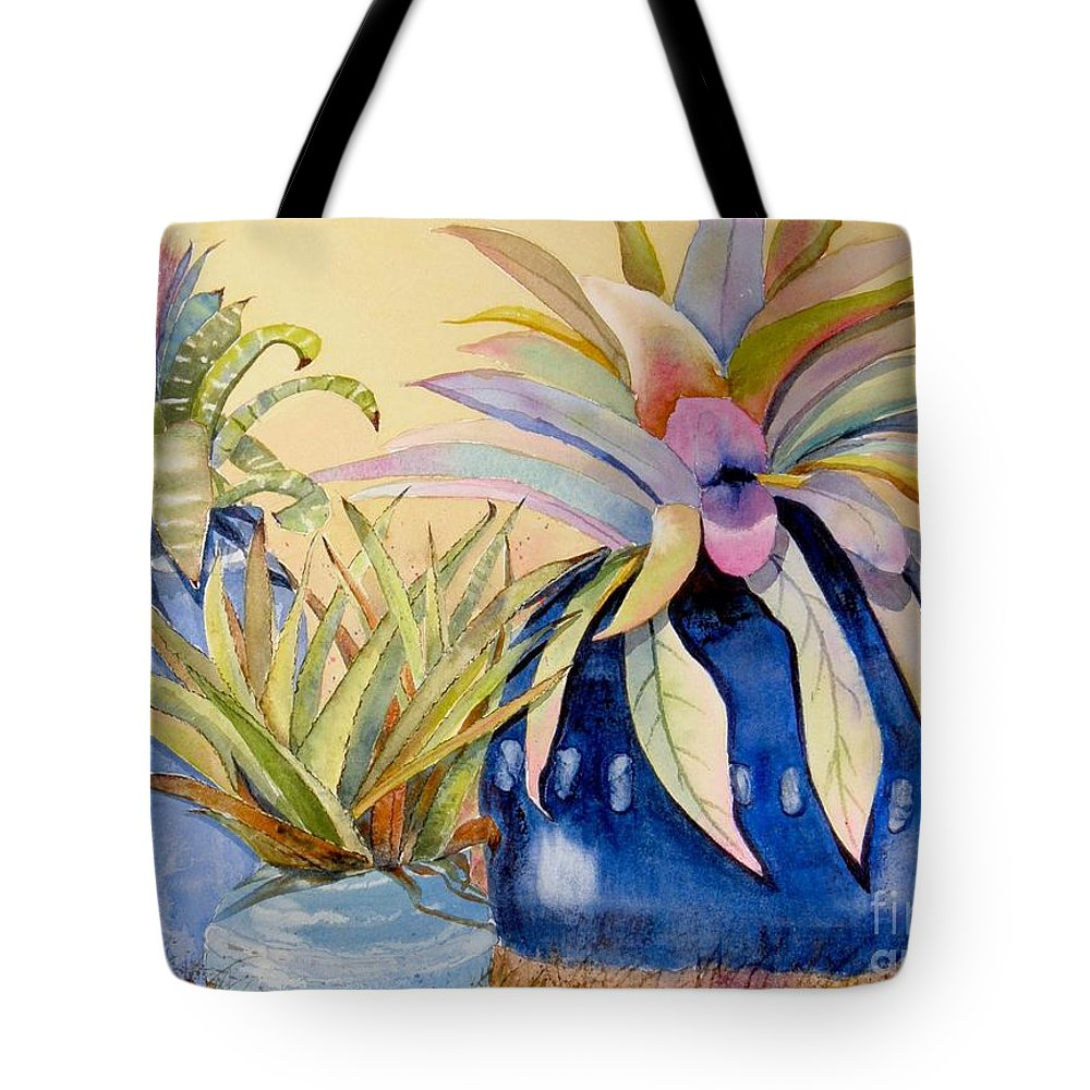 Succulents Tote Bag featuring the painting Blue Pots by Midge Pippel
