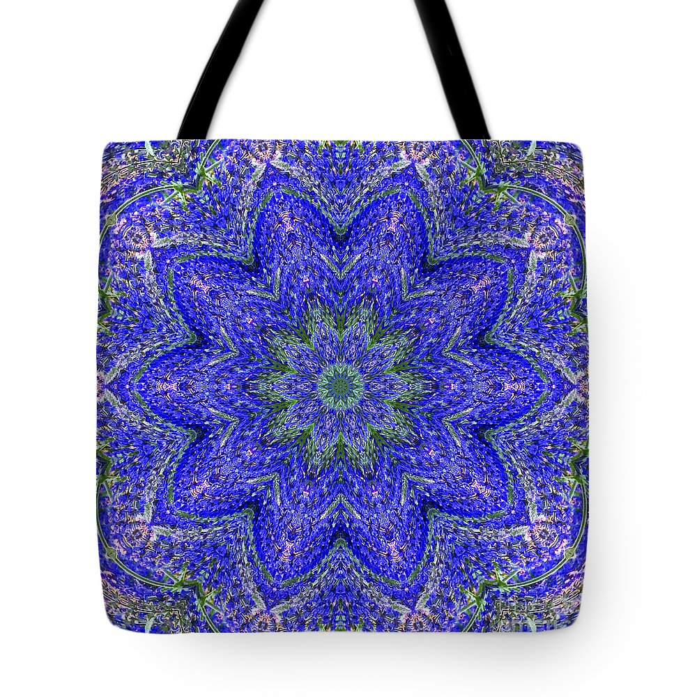 Kaleidoscope Tote Bag featuring the photograph Blue Purple Lavender Floral Kaleidoscope Wall Art Print by Carol F Austin