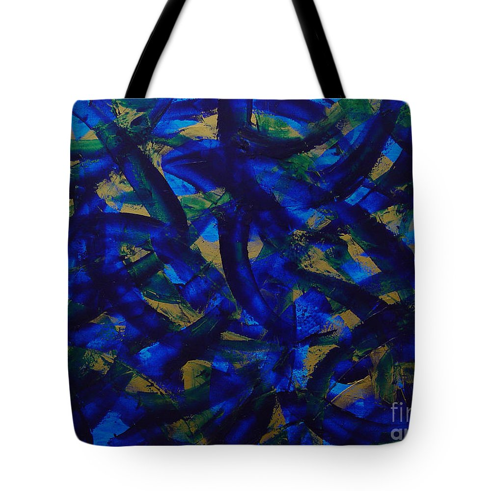 Abstract Tote Bag featuring the painting Blue Pyramid by Dean Triolo