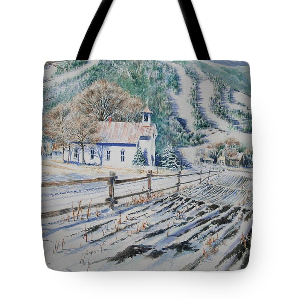 Landscape Tote Bag featuring the painting Blue Ridge Church by Tom Harris