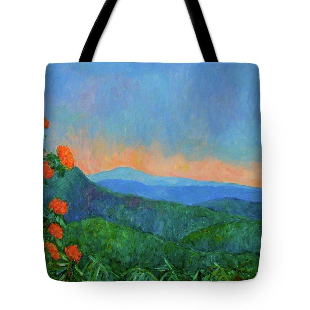 Kendall Kessler Tote Bag featuring the painting Blue Ridge Morning by Kendall Kessler
