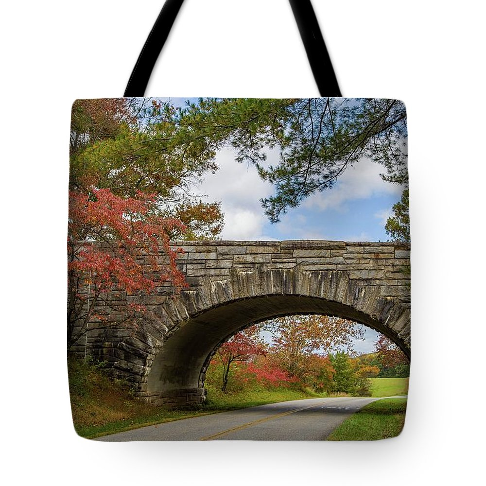 Fall Tote Bag featuring the photograph Blue Ridge Parkway Stone Arch Bridge by Kevin Craft