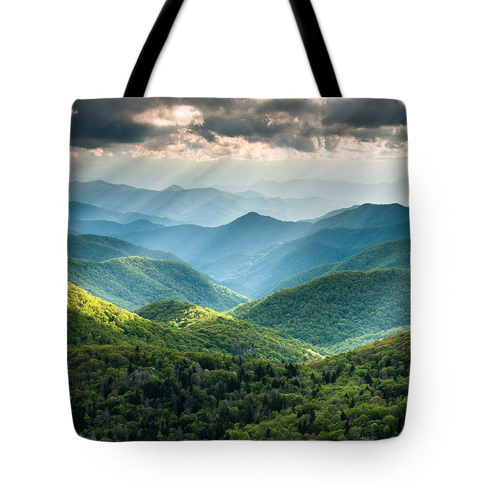 Mountains Tote Bag featuring the photograph Blue Ridge Southern Appalachian Mountain Light Show by Mark VanDyke