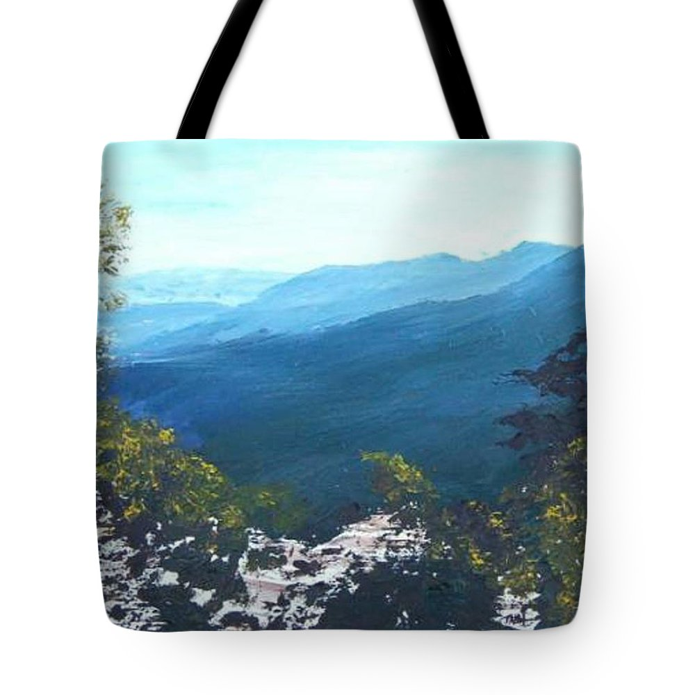 Landscape Tote Bag featuring the painting Blue Ridge by Tami Booher