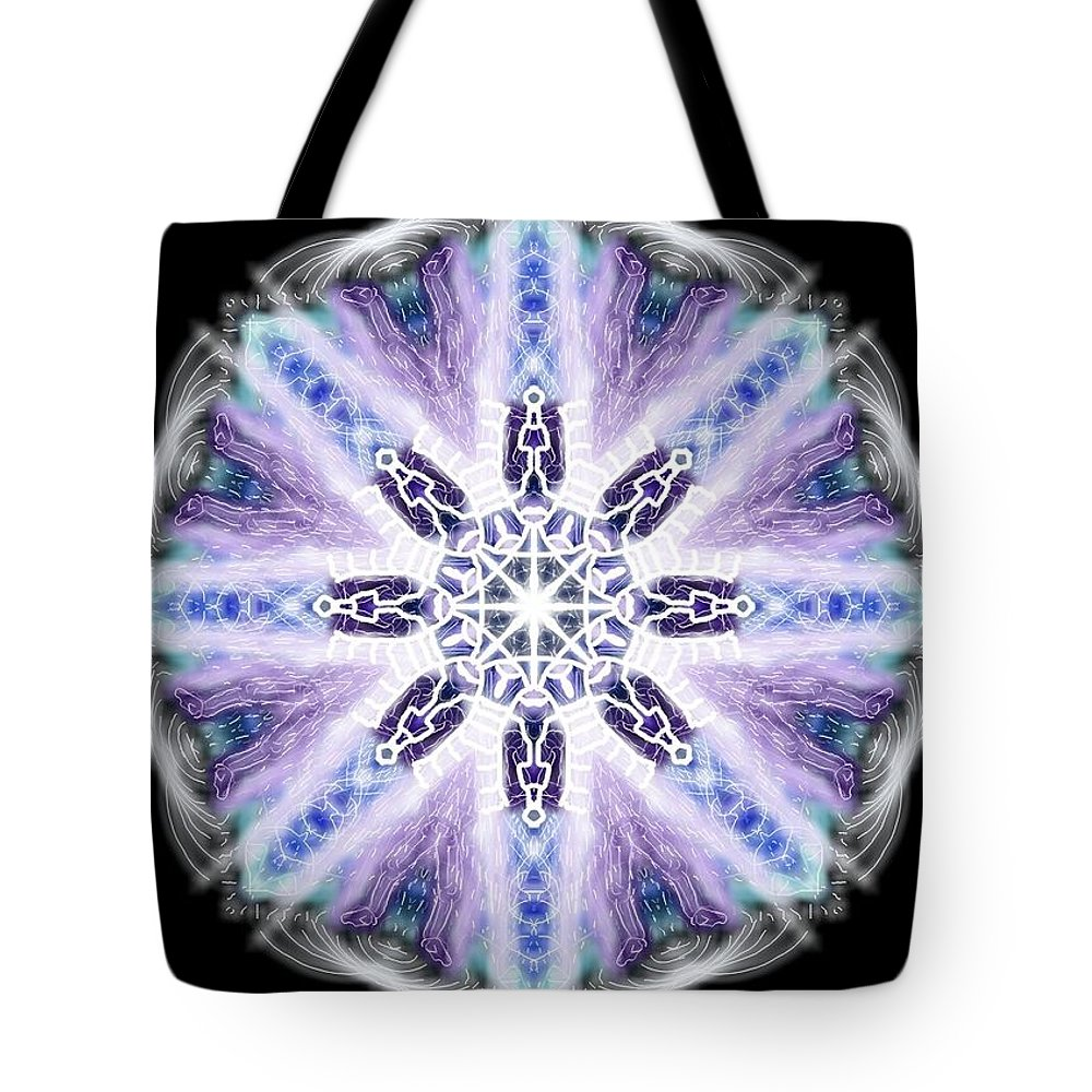 Blue Tote Bag featuring the digital art Blue Ring Of Light by Michael African Visions