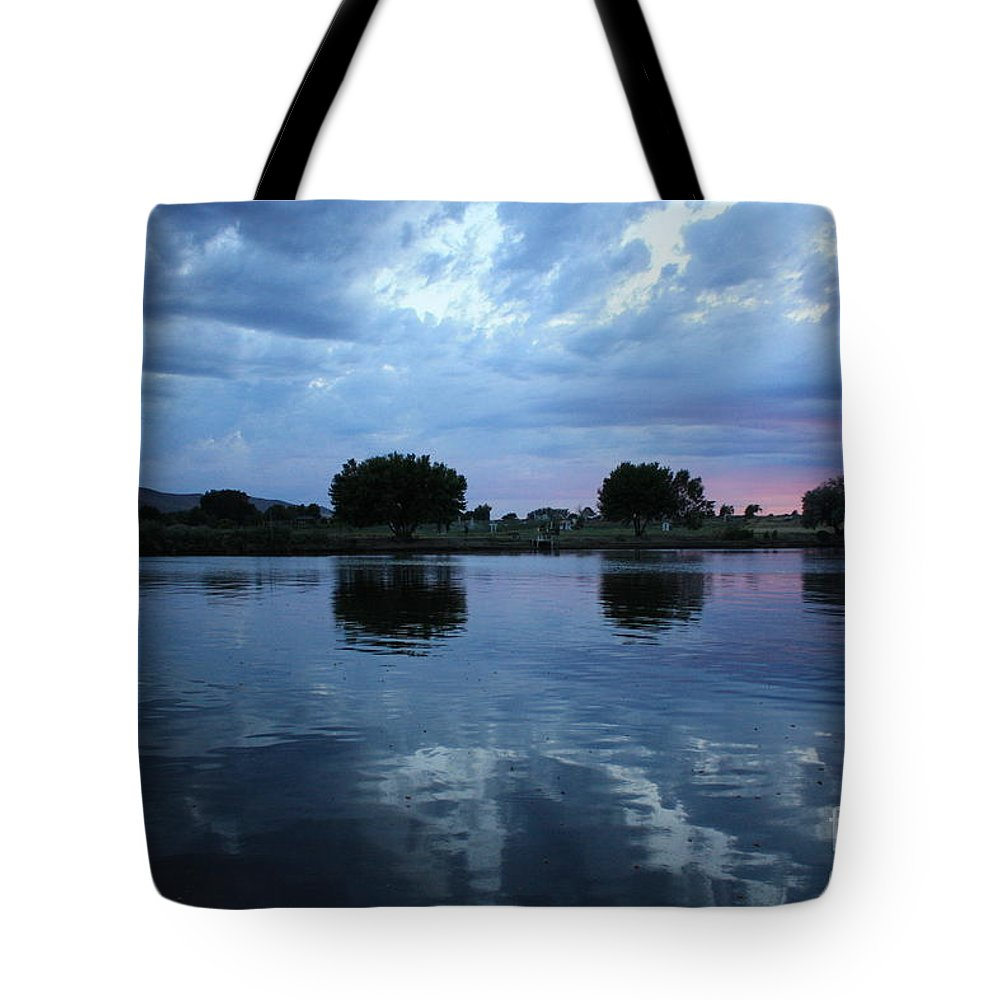 Sunset Tote Bag featuring the photograph Blue River Sunset by Carol Groenen