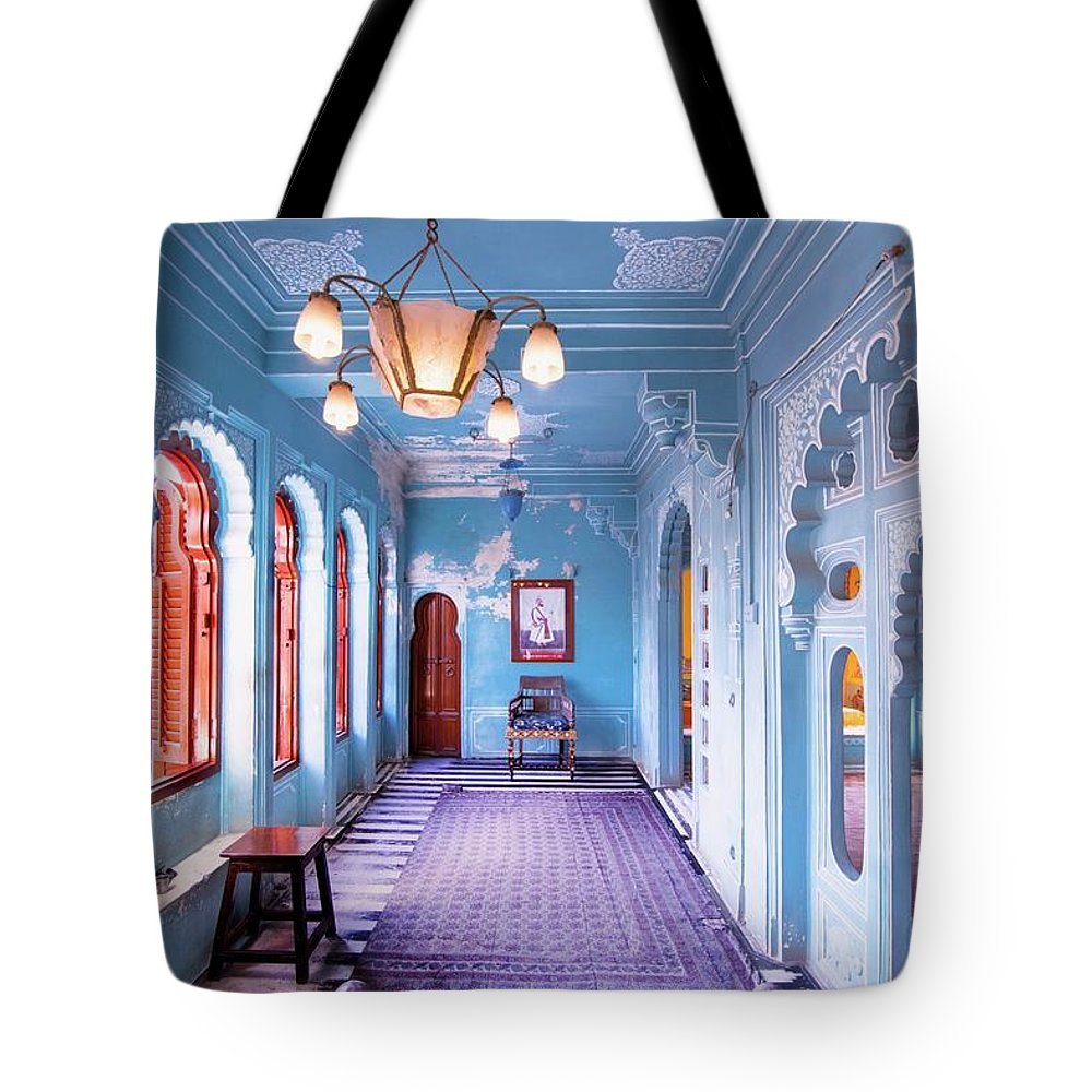 Udaipur Tote Bag featuring the photograph Blue Room by Sikander Azam