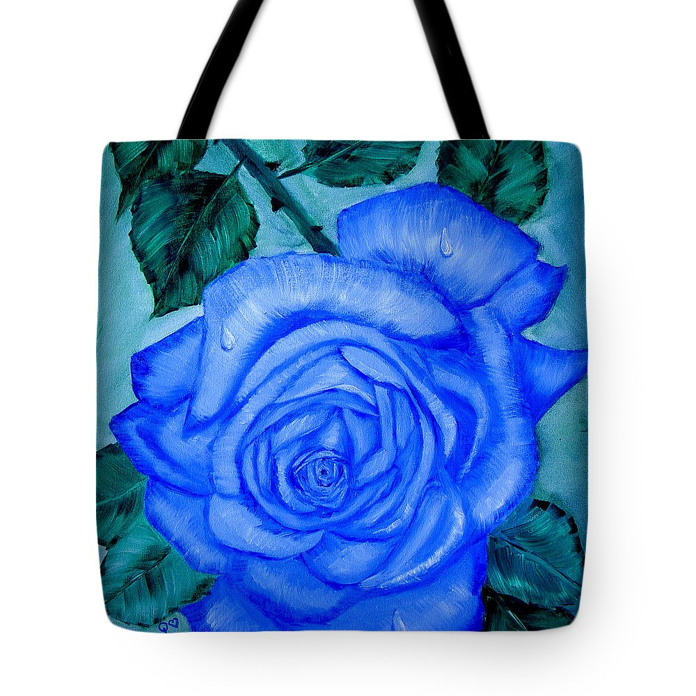 Rose Tote Bag featuring the painting Blue Rose by Quwatha Valentine
