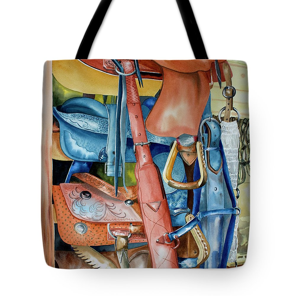 Blue Saddle Painting Tote Bag featuring the painting Blue Saddle by Kandyce Waltensperger