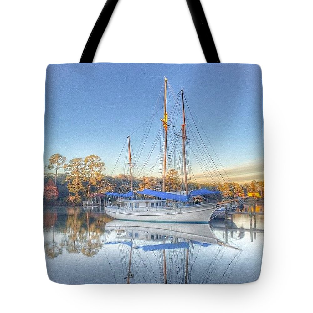 Sailboat Tote Bag featuring the photograph Blue Sail by Christine DuMouchel