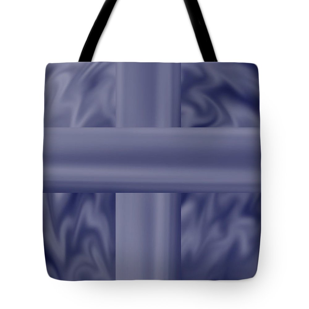 Blue Tote Bag featuring the painting Blue Satin Cross by Anne Norskog