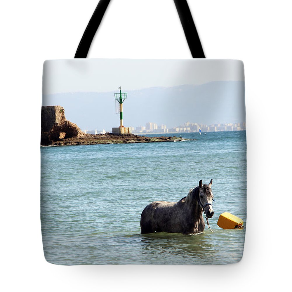 Horse Tote Bag featuring the photograph Blue Sea by Munir Alawi
