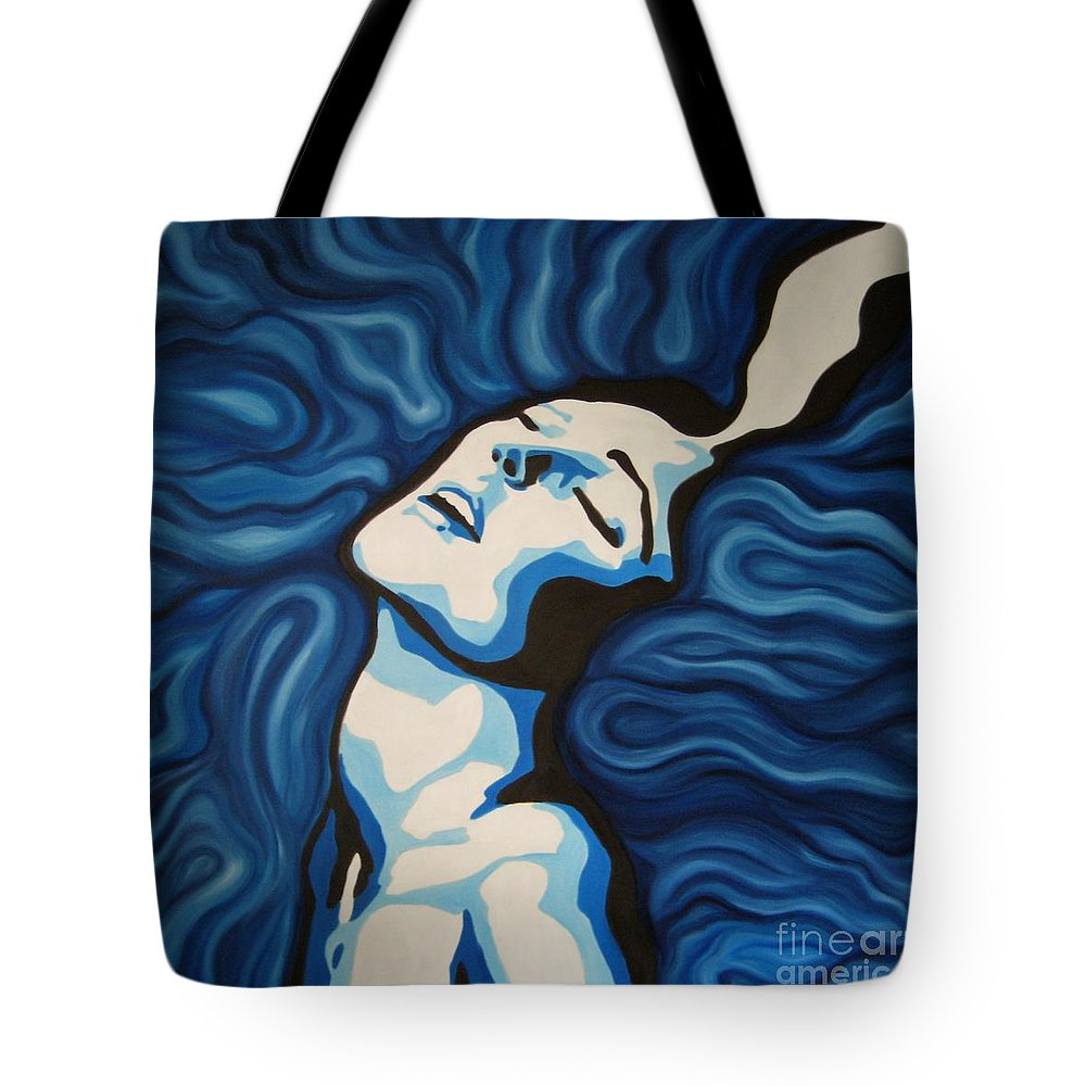 Blue Tote Bag featuring the painting Blue Shimmers by Jindra Noewi