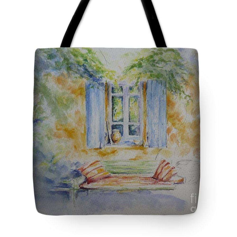Blue Shutters Tote Bag featuring the painting Blue Shutters by Lizzy Forrester