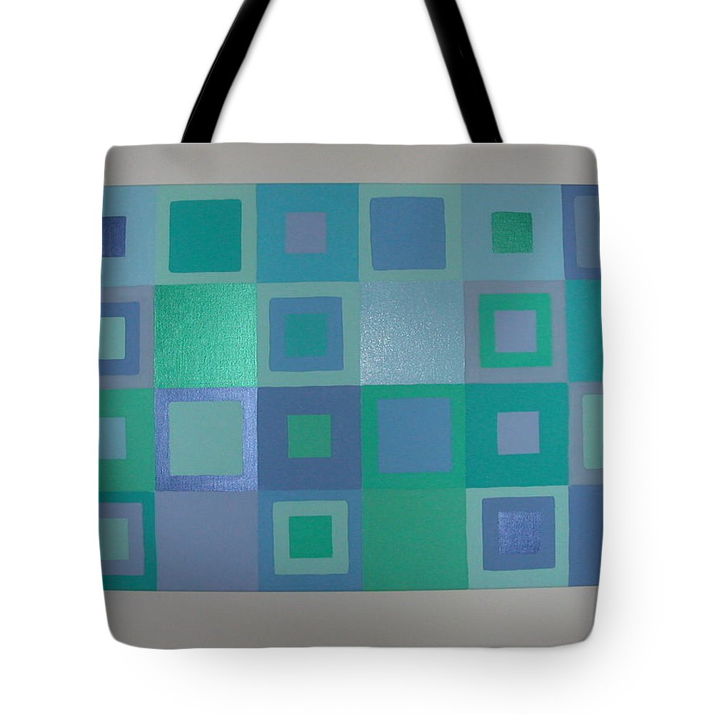 Pastel Blue Metallic Squares Painting Tote Bag featuring the painting Blue Skies by Gay Dallek