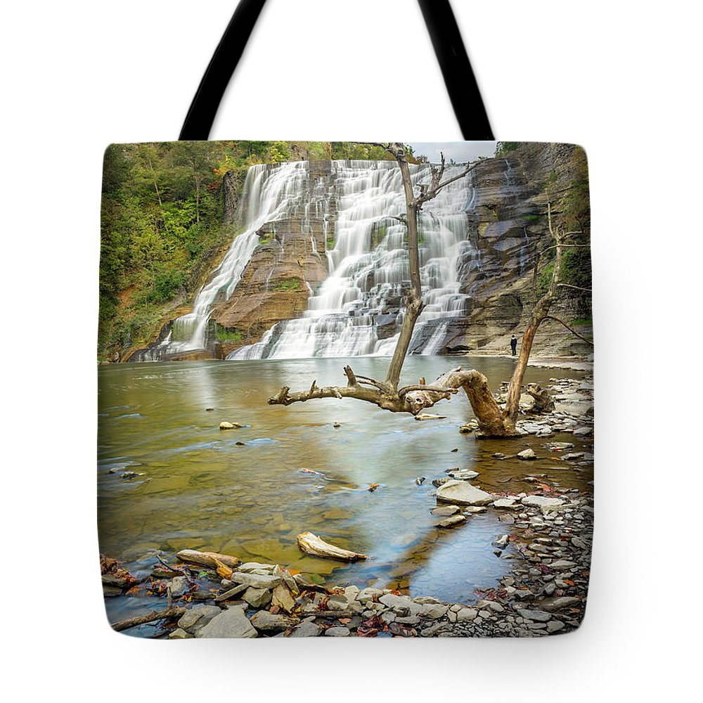New York Tote Bag featuring the photograph Blue Skies Over Ithaca Falls by Karen Jorstad