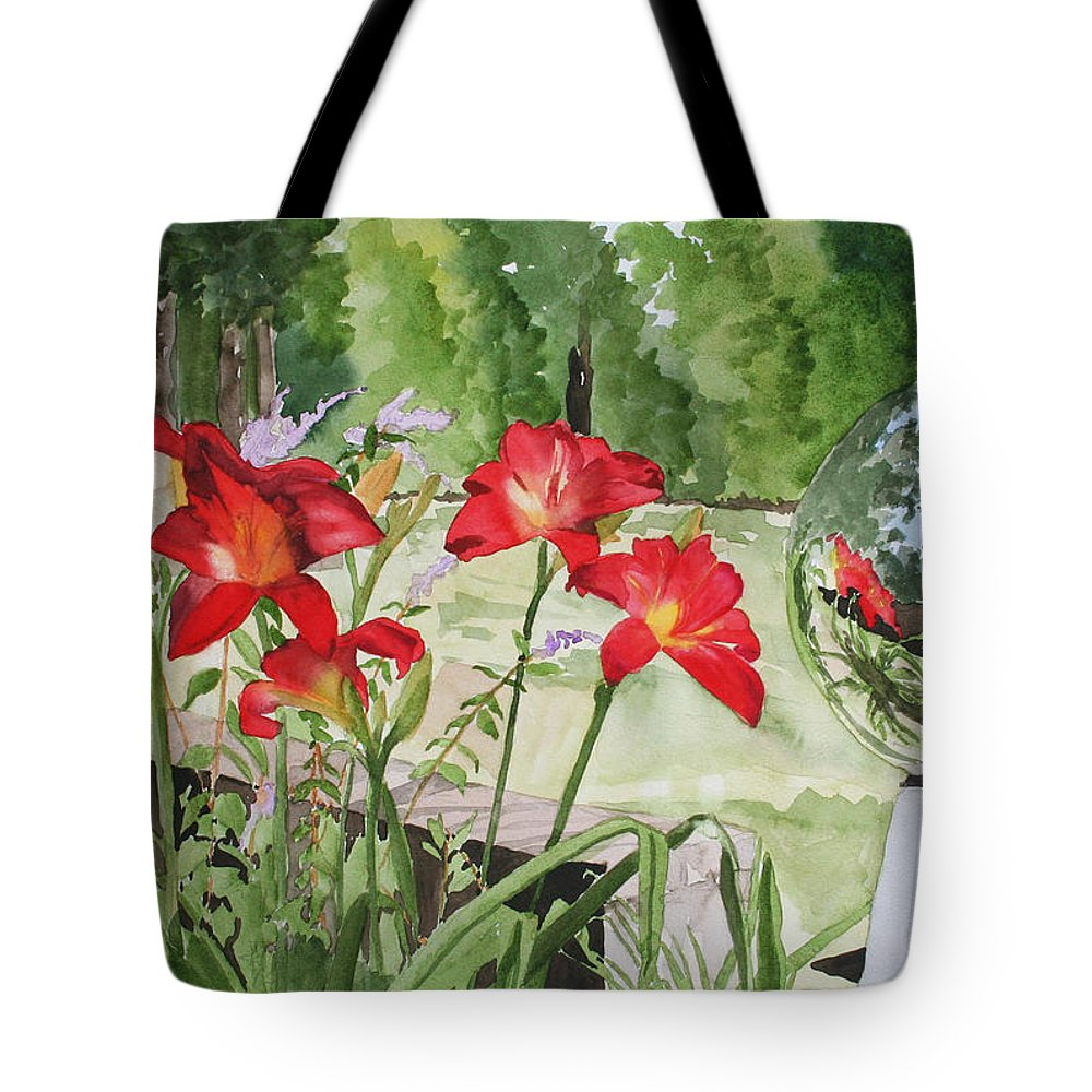 Flowers Tote Bag featuring the painting Blue Sky Reflections by Jean Blackmer
