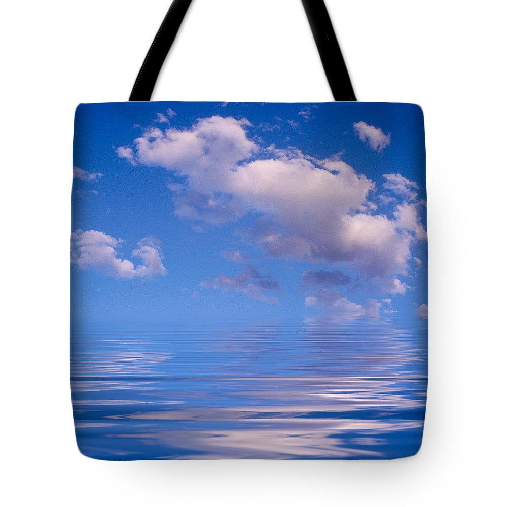 Original Art Tote Bag featuring the photograph Blue Sky Reflections by Jerry McElroy