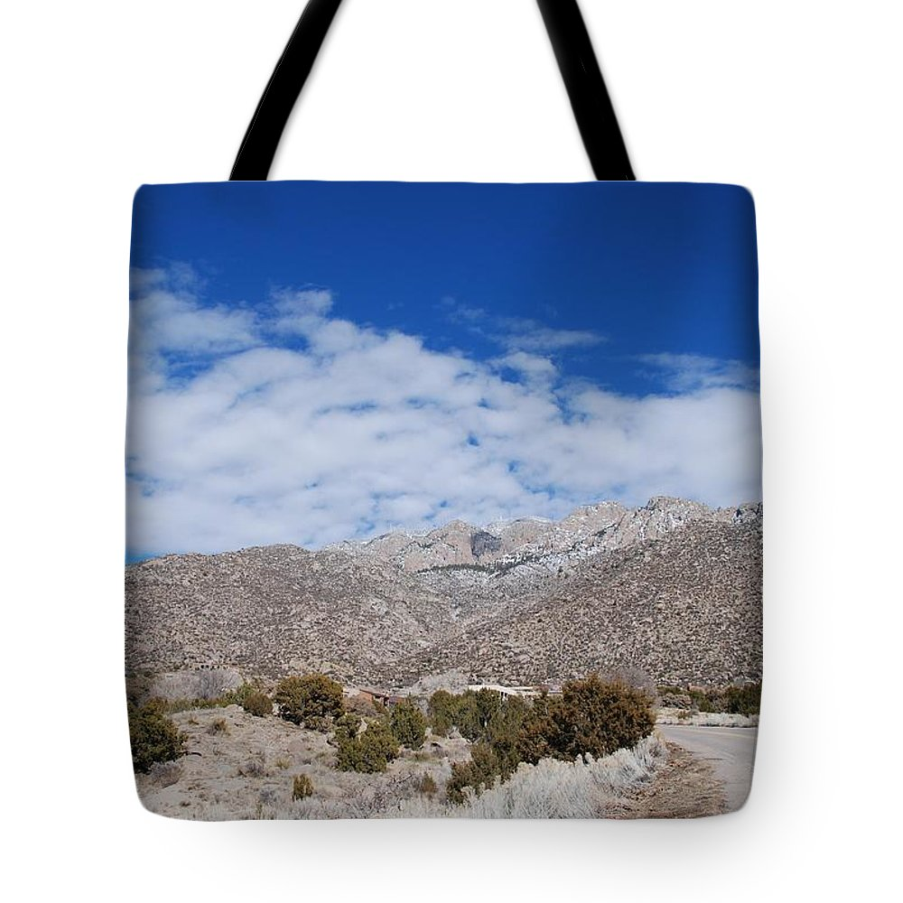 Sandia Mountains Tote Bag featuring the photograph Blue Skys Over The Sandias by Rob Hans
