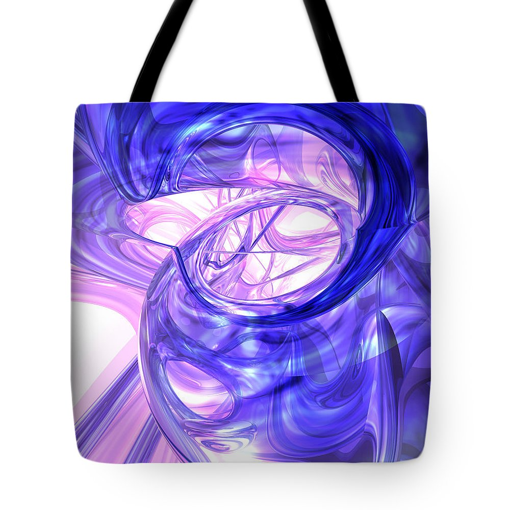 3d Tote Bag featuring the digital art Blue Smoke Abstract by Alexander Butler