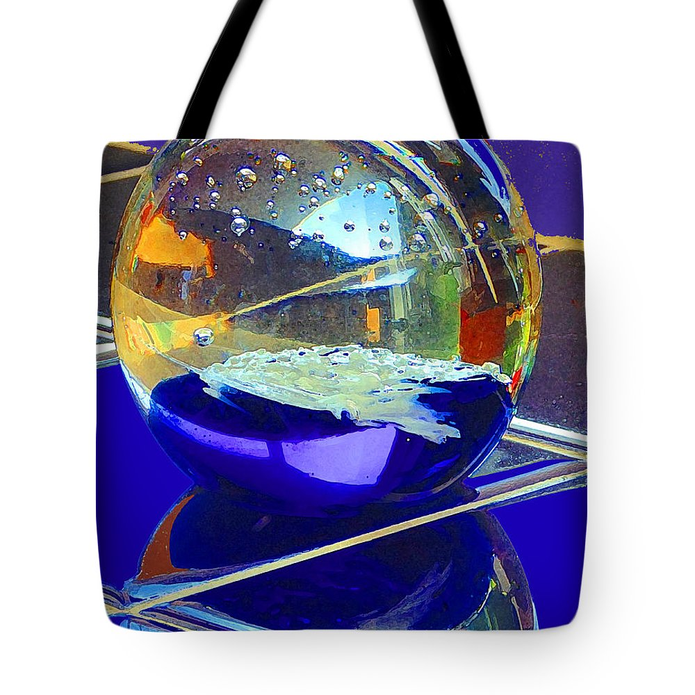 Glass Sphere Tote Bag featuring the digital art Blue Sphere by Jana Russon