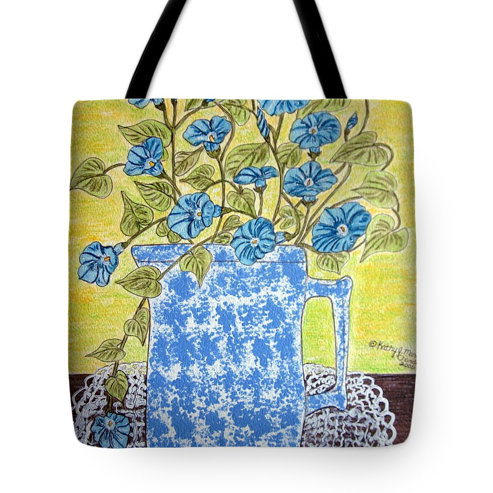 Blue Tote Bag featuring the painting Blue Spongeware Pitcher Morning Glories by Kathy Marrs Chandler