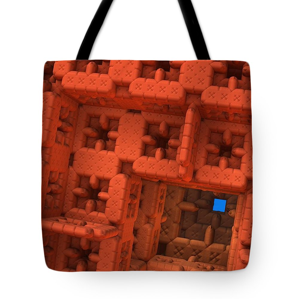 Mandelbulb Tote Bag featuring the digital art Blue Square by Lyle Hatch