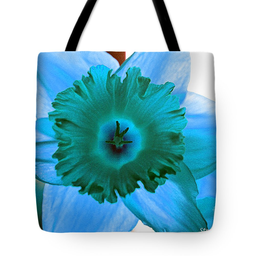 Flower Edit Color Blue Modern Edge Daffodil Bloom Nature Tote Bag featuring the photograph Blue. by Stevie Ellis