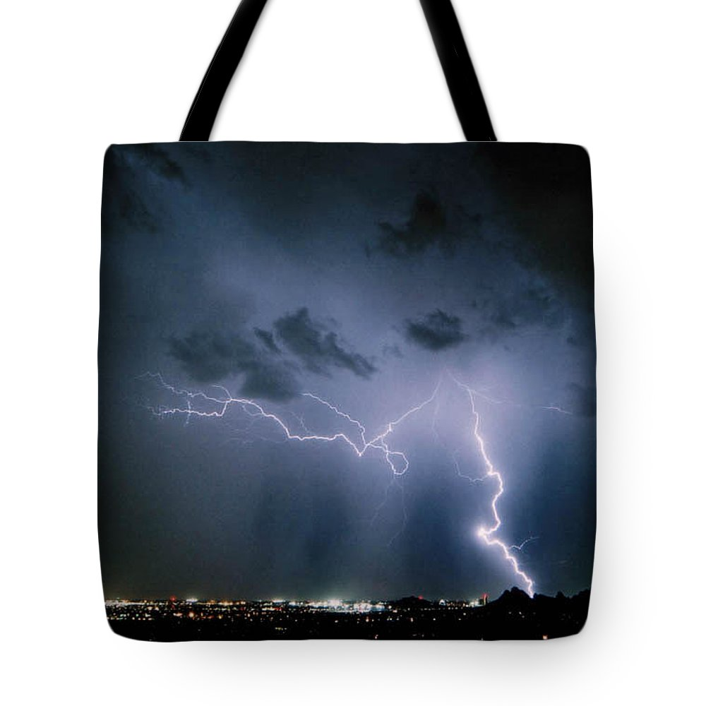 Arizona Tote Bag featuring the photograph Blue Strike by Cathy Franklin