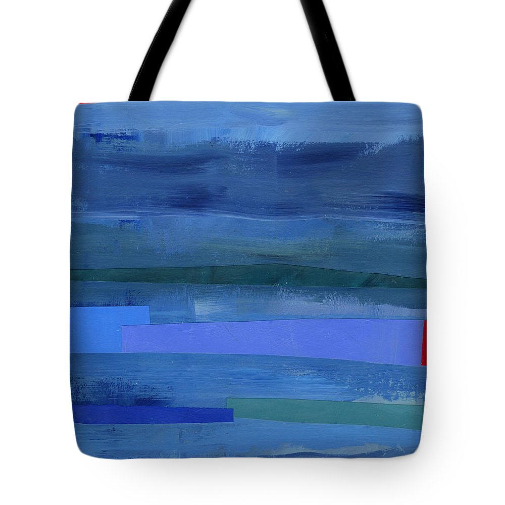 Abstract Art Tote Bag featuring the painting Blue Stripes 1 by Jane Davies