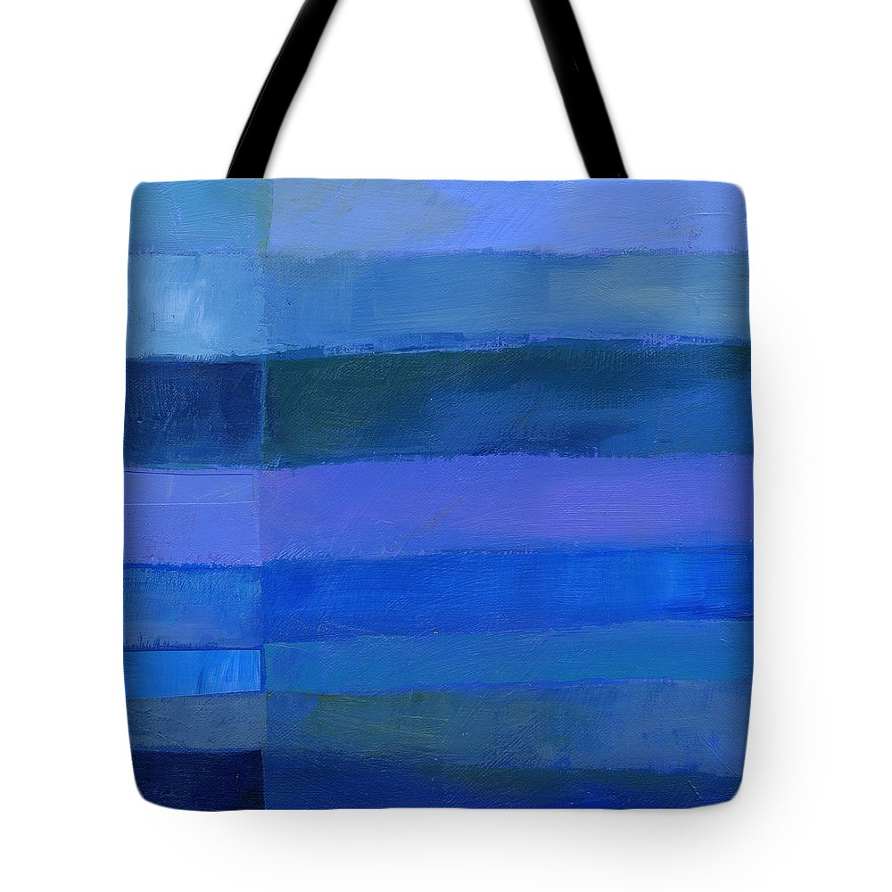 Abstract Art Tote Bag featuring the painting Blue Stripes 2 by Jane Davies