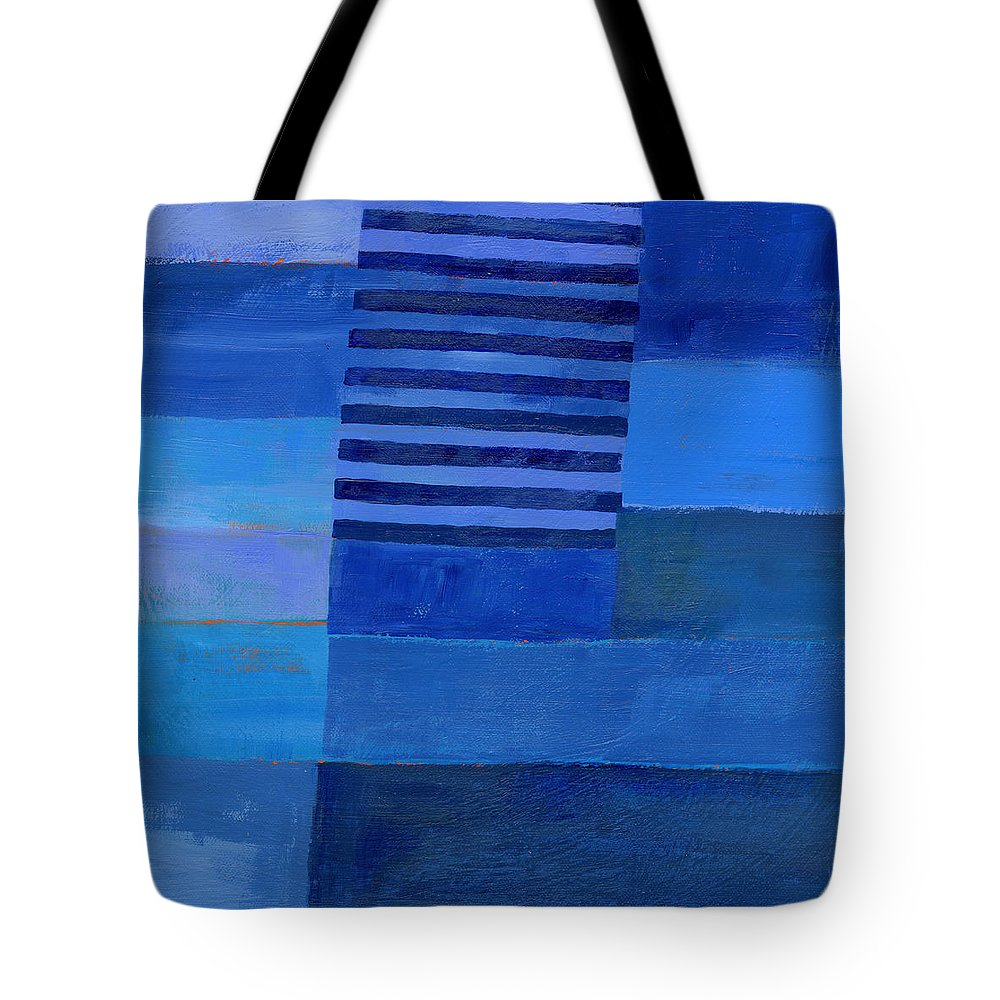 Abstract Art Tote Bag featuring the painting Blue Stripes 7 by Jane Davies