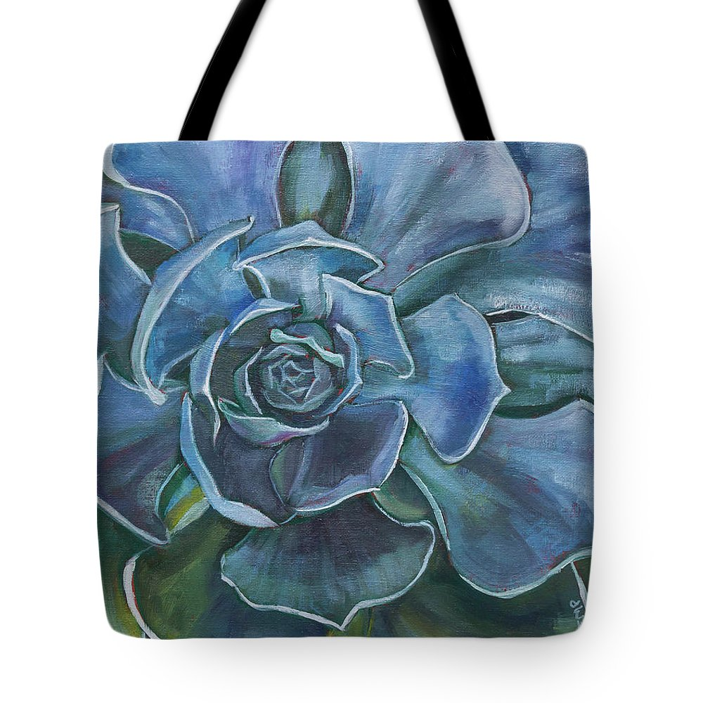 Eugene Tote Bag featuring the painting Blue Succulent by Tara D Kemp