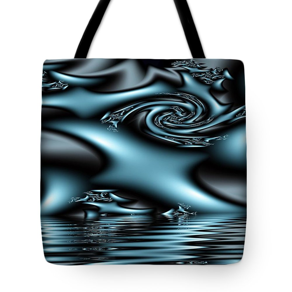 Fractals Blue Lake Sun River Water Tote Bag featuring the digital art Blue Sun by Veronica Jackson