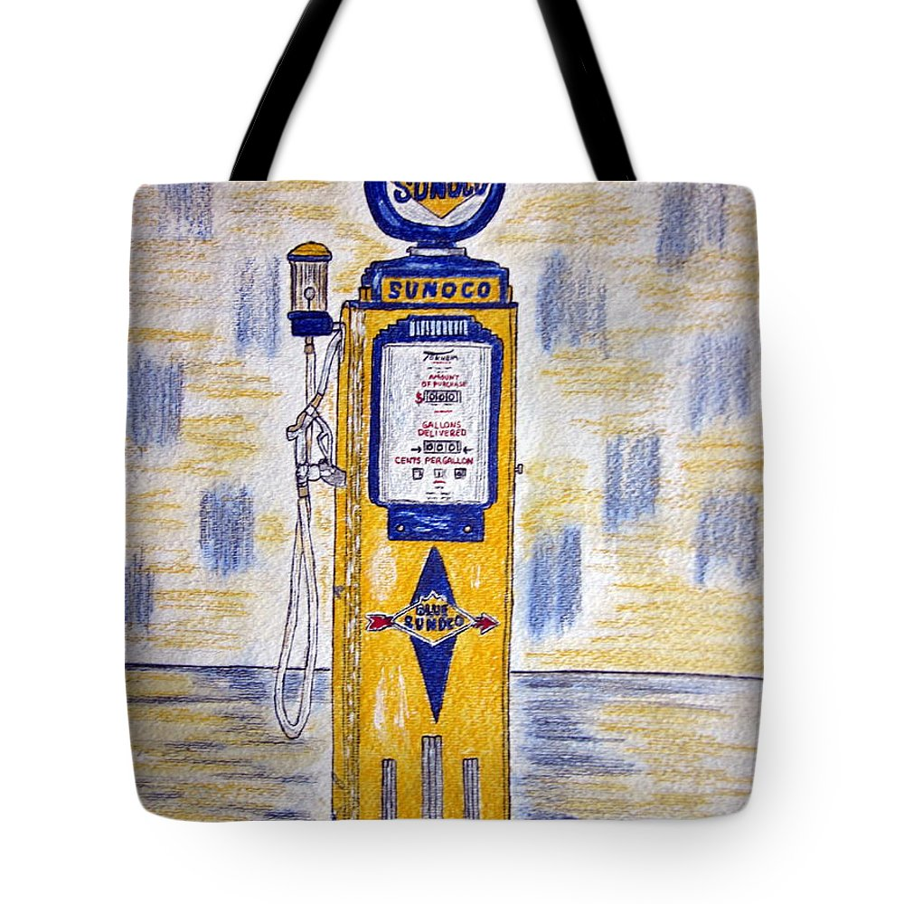 Blue Sunoco Tote Bag featuring the painting Blue Sunoco Gas Pump by Kathy Marrs Chandler