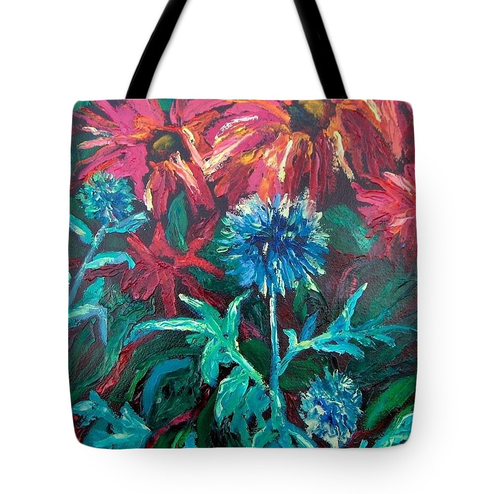 Red Tote Bag featuring the painting Blue Thistle And Bee Balm by Susan Spohn