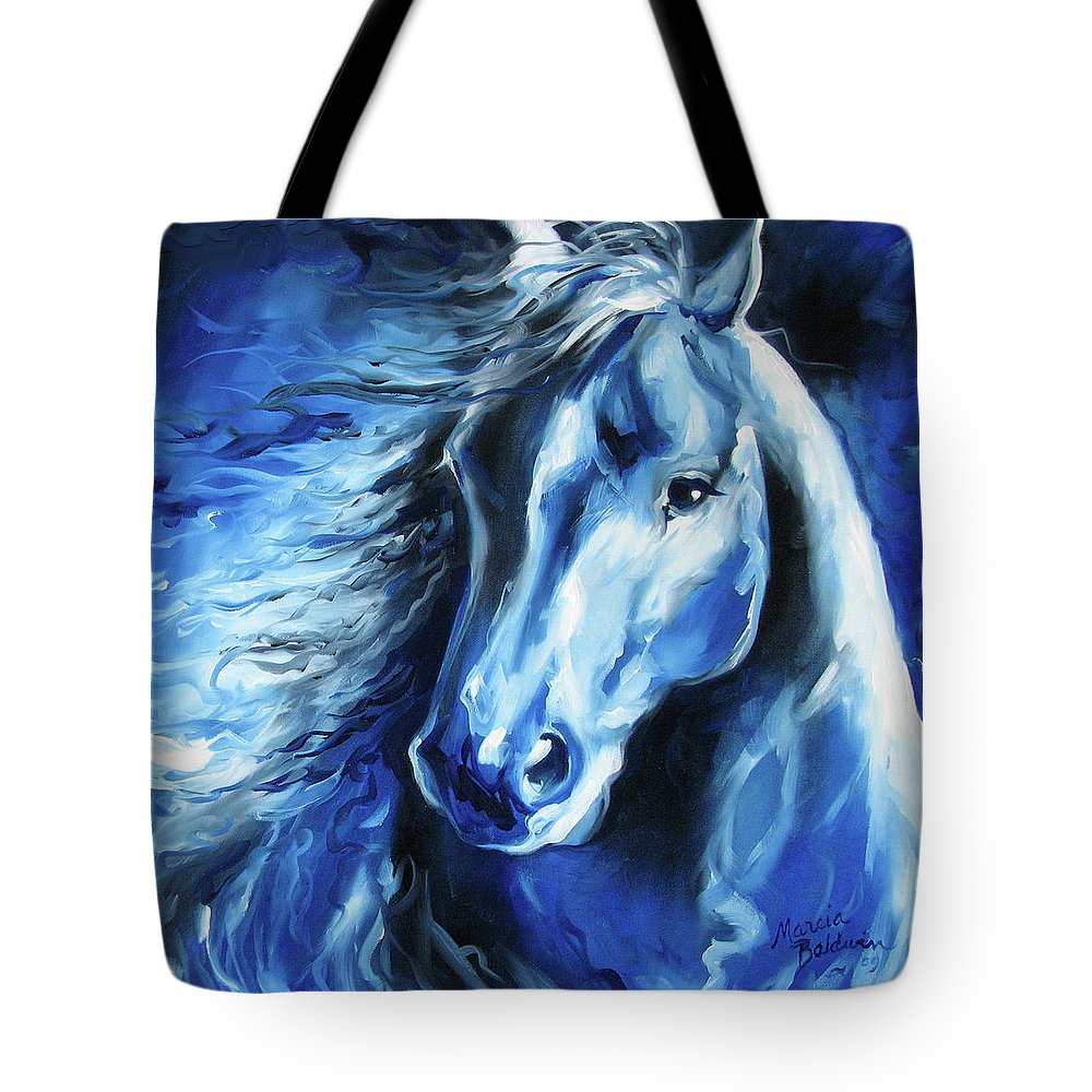 Horse Tote Bag featuring the painting Blue Thunder by Marcia Baldwin