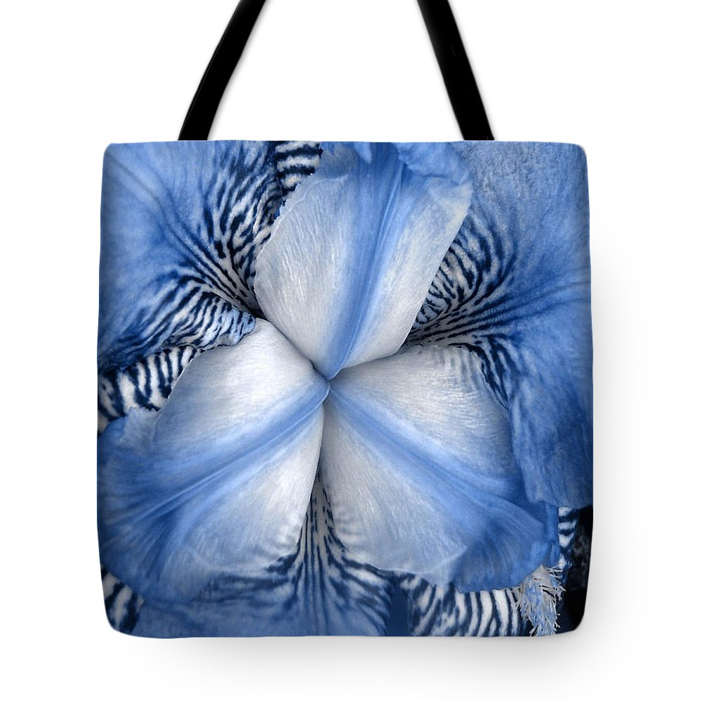 Jphotography Tote Bag featuring the photograph Blue Tiger Iris by Shelley Jones