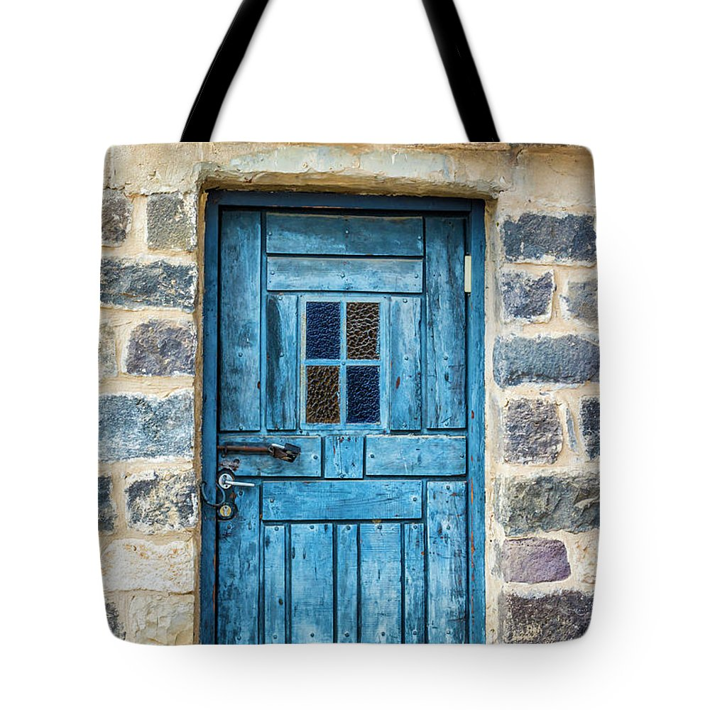 Tiberias Tote Bag featuring the digital art Blue Traditional Door by Tsafreer Bernstein