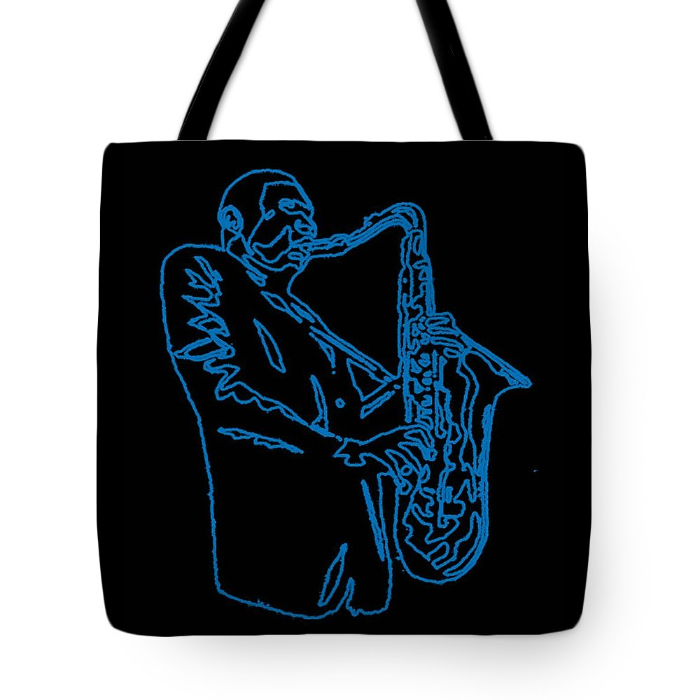 Blue Tote Bag featuring the digital art Blue Trane by Thomas Meyers