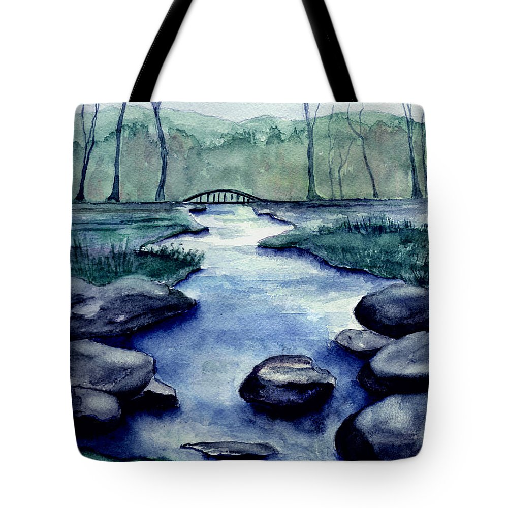 Watercolor Tote Bag featuring the painting Blue Tranquility by Brenda Owen