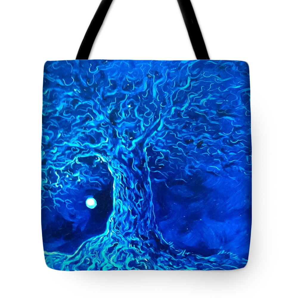 Blue Tote Bag featuring the painting Blue Tree by Karen Doyle