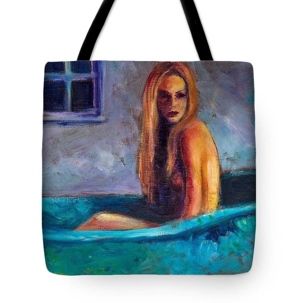 Nude Tote Bag featuring the painting Blue Tub Study by Jason Reinhardt