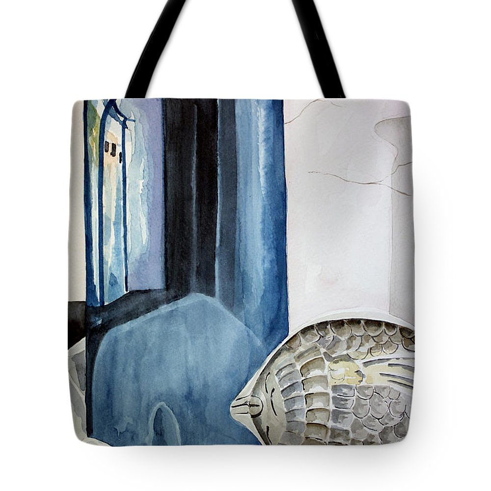 Vase Tote Bag featuring the painting Blue Vase by Kandyce Waltensperger